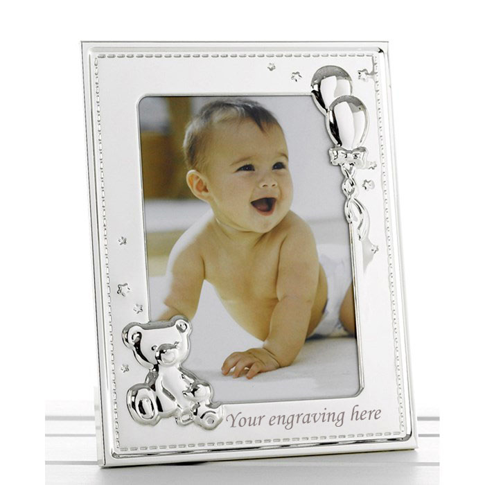 "Teddy & Balloon Frame - Holds 5"" x 7"" Photo Image"